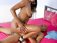Black chick gets a thick black dick up her bald black snatch