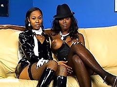 Kinky ebony lesbian fucks her girlfriend