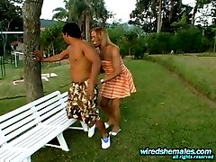 Lascivious shemale massaging guys tight ass outdoors after hot training