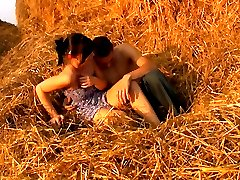 The soft hay makes a perfect bed for these horny teen lovers. They dont have any privacy...
