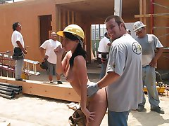Sophie exposes herself at a construction site