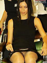 Sitting girls get upskirts voyeured