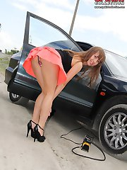 Erotic girl enticing windy upskirt