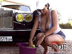 Busty babes washing car naked
