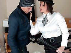 Busty Cop Hollie Benten makes burglar fuck her pussy and ass