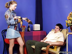 Filthy guy kneeling down to lick high heel shoes before wild nylon footjob