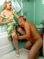 Naked guy sucking babe�s strap-on getting finished with fierce ass-banging