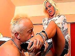 Mistress Shila spanks mature slave