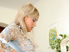 Strap-on armed maid properly massaging a rear passage of a sissified guy