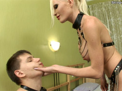 Severe blonde mistress pushing fist deep inside her slave�s tight asshole