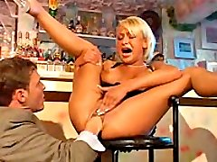 Blonde babe fist fucked up her twat by a ptitless stud