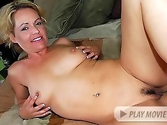 Blonde chick Kelly Leigh flashes off her her hairy congenital pussy and gets it crammed with a monstrous black dong