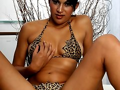 Sexy babe Alexandra Senna takes off her animal print bikinis and later got her hairy pussy fucked hard