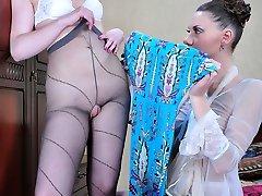 Rousing girls enjoy the taste and sleek sense of a few patterned pantyhose