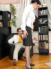 Steaming hot secretary getting her pantyhose torn while fucking like hell