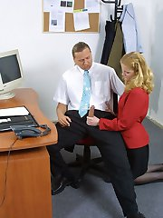 Secretary in stockings gets fucked by her boss