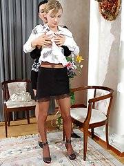 Nasty chick in torn hose playing with dildo and enjoying sultry lesbian sex