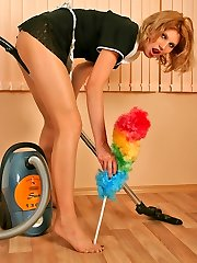 Freaky French maid can�t tidying up room without teasing with her tights
