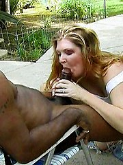 Awesome outdoor sex with a horny granny slurping a black dick with her wrinkled lips