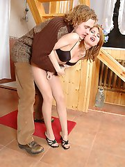 Cutie undressing up to nylons not suspecting of being watched by her friend