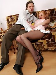 Lewd French maid and kinky guy fondling expensive hosiery before hard sex