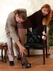 Nasty assistant in manage top pantyhose getting her twat ploughed from behind