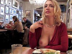 Bitch flashes cunt and big tits in public