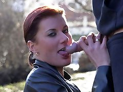 Public blowjob and hardcore sex with a stranger