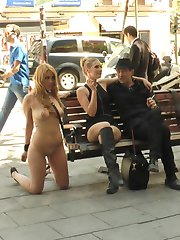 Hanna Montada is a gorgeous busty bondage slut that is stripped fully naked in public. Humiliated by Mona Wales, this whore is made to service Legendary Steve Holmes. This pain slut wants even more and takes corporal punishment followed by a hard fucking in rope bondage. Mona Wales has her way too with this big tit slut and fists orgasms out of her.