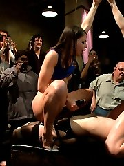 Welcome back to the Armory!! This time around Juliette March submits to Lorelei Lee in front of a horny 70 attendees. The shoot turns into a rodeo like orgy as guests fondle and finger this wanting little slut. She'll do anything for attention and the audience puts her through the humiliating tasks of barking like a dog, singing, 'i'm a little tea pot', and getting her to oink like the little piggy she is! Karlo Karrero, Mickey Mod, Lorelei, and Mia Gold all get in on the action with a dramatic finish including an ANAL POUNDING, FISTING, and juliette made to wear a STRAP ON and a DILDO GAG while Mia and Lorelei CUM CUM CUM all the way HOME!!