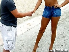 Latina tranny in tight jean shorts gets some cock in her