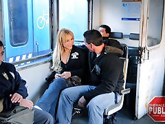 A quick train ride is made a bit more exciting when a bold man bangs a tranny in an open cabin