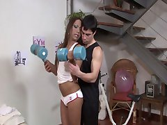 Tanned muscle tranny Angeli gets a real workout from Ozzy in this video. After putting her own exercise machinery to good use and giving Ozzy's hole a taste of...