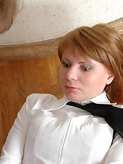 Lewd babes getting caught while playing nasty nylon games right in office