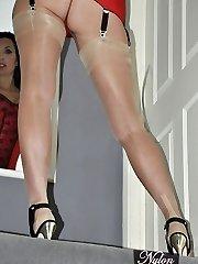 Wonderful Milf Nylon Jane teasing in crimson lingerie, stockings and suspenders and high heels