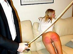 Teasing teen in short skirt gets her bottom welted for slutty behaviour - deep red marks