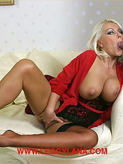 Horny blonde Milf Lana Cox gives this hunky visitor amazing foot wank and blowjob on her sofa