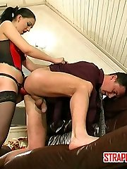 Stunning chick in lacy stocking getting nasty with her enormous rope-on
