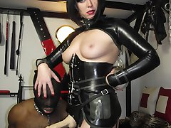 Strapon Helga dominates this black stud and he loves it so much