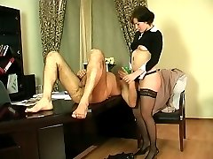 Horny secretary revealing her strap-on fucking skills having sex with boss