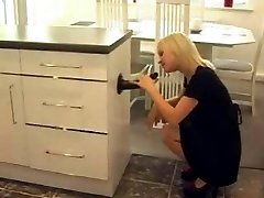 Strapon Jane catches her maid riding a dildo