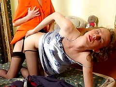 Horny sissy creaming his tights after harsh strap-on fucking with a hottie