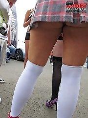 Hot nudity of sweet girls up skirt