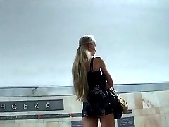 Following gal and shooting stairs upskirt