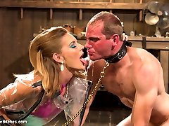 Mona Wales is devastating in her skin tight high waist bright blue latex. So devastating in fact that John can't control his cock when she rubs it between her juicy latex thighs and he blows his filthy load all over. John is punished and plugged with a tail and humiliated then water boarded until he has given all control over to his Goddess. This hard cocked slut is fucked deep in his ass with Mona's powerful strap-on and looses his load for a second time all over like a filthy cock teased slave whore!