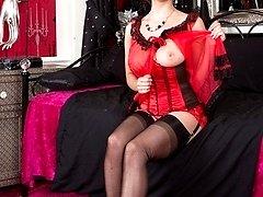 Nina in her sheer fancy heel black ff nylons to the red sheer top to her naughty panties!