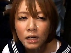 Meguru Kosaka Asian in uniform has face full PublicSexJapan.com