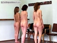 Three cute ballet students stripped naked and welted to tears on their pretty little bottoms