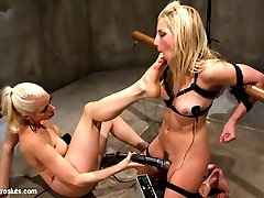 Bound, used and abused, electro BDSM slut Ashley Fires is asking serious questions about her situation. But rather than deciding about lifestyle choices, Ashley is struggling to be a better playtoy for the lezdom demands of Lorelei Lee. With a copper pipe wired up, Lorelei suffers from no such existential crisis. She takes her pleasure from Ashley's pain, making the little electroslut yelp with simultaneous delight and discomfort with each involuntary contraction from the copper pipe. Lorelei adds an electric bullet into the mix, making Ashley tender little cunt squeeze and relax in time with the electrosex. All the while Ashley must also tend to her her mistress's needs, licking Lorelei's puckered asshole while she suffers from the electrical torment.