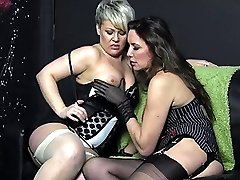 Smoking Milfs Nylon Jane and Bree relax after a cigarette and enjoy sucking each others big juicy tits